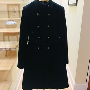 BCBGMaxazria Black Full Length Wool Coat SZ S